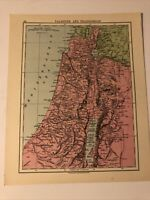Map 1935: Palestine & Transjordan, Turkey Syria Iraq Vintage Print 85 Years Old