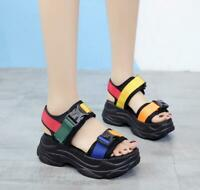 Womens Roman Sports Sandals Wedge Heel Platform Creepers Casual Beach Shoes Chic