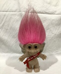 Vintage RUSS Troll Doll - Pink Hair, Red Sash You're Very Special + Silver Wings