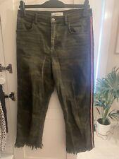 ZARA Premium Denim Camo Jeans Beading Detail Distressed Hem EU 38 M