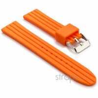 StrapsCo Ribbed Silicone Watch Orange Rubber Strap w Stainless Steel Tang Buckle