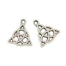 10 x Antique Silver Tibetan 17mm Celtic Knot Triquetra Charm/Pendant ZX00225