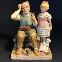 """NORMAN ROCKWELL FIGURINE THE SHOE MAKER 1981 VINTAGE 6""""H COLLECTORS CLUB"""