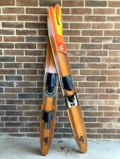 Vintage Cypress Gardens Checkmate Wood Water skis, 2 tone natural finish