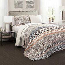 Lush Décor Nesco Quilt Set Striped Pattern Reversible 3 Piece Bedding Set - Navy