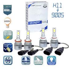 2Pair 9005 + H11 Combo LED Headlight Low High Beams Light Kit Bulbs 6000K