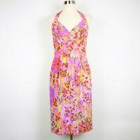 Kay Unger Women's 4 - Purple & pink floral stretch silk halter dress knee length