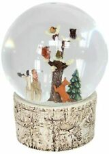 More details for large christmas snow globe water ball bark base fawn fox squirrel owl robins