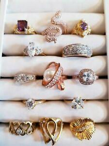 STUNNING Vintage Mod Ring LOT 18krgp Park Lane 925 Avon 14kge ESPO Stella & Dot+