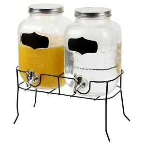 2x4 Litres Dual Double Glass Beverage Drinks Dispenser Screw Lid Jugs Tap Stand