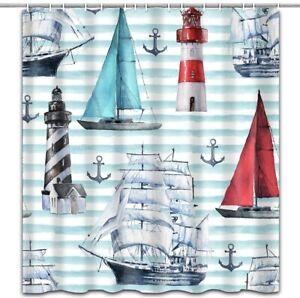 """Nautical Sailboat Lighthouse Anchor Shower Curtain Bathroom Decor with Hooks 71"""""""