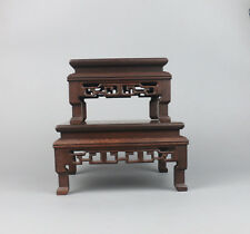 display stand brown hard wood Chinese 1 set 2PC put curio square wooden base