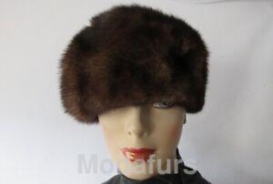 "Women's Sz 22"" Natural Dark Ranch Mink Fur Hat MINT"