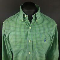 Polo Ralph Lauren Mens Shirt 16 40-41 LARGE Long Sleeve Green Custom Fit Check
