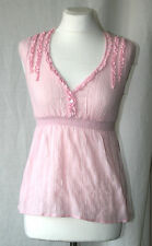 JANE NORMAN (UK12 / EU40) PINK WITH SILVER THREADS CAP-SLEEVED TOP