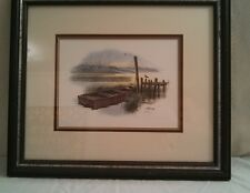 Signed Don Balke Boat Nature Art Lithograph 20x17 Matted Framed by Tharpe Co.