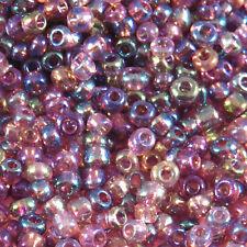 Perles de Rocailles en verre Transparent 2mm Améthyste AB 20g (12/0)