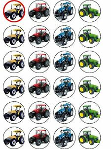 24 X TRACTOR MIX RICE PAPER BIRTHDAY CAKE TOPPERS