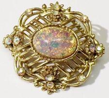 broche bijou vintage couleur or cabochon style opale cristaux boréalis * 4765