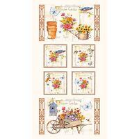 Fabric Flower Garden Hummingbirds Birdhouses White Cotton Panel 24x42