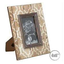 Photo Frame Natural Wooden Brown Patten Modern Vintage Retro Country - Hardly