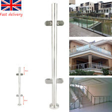UK Stainless Steel 110cm Balustrade End Post Grade Glass Clamps Fence Railing