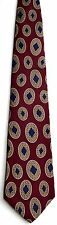 Men's New Silk Neck Tie, Dark Red with Brown Blue oval dots by Z Inc.