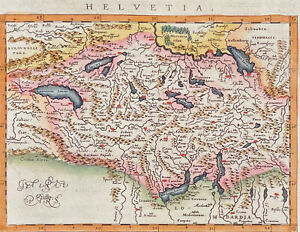 Ptolemy - Map of Switzerland. 65, 1621 Original Hand-Colored Engraving