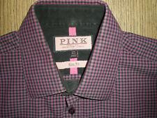 "mens thomas pink casual shirt 15.5"" collar slim fit medium made in vietnam"