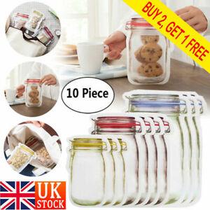 10pcs Reusable Mason Jar Bottles Bags Fresh Food Storage Snacks Zipper Pouch UK