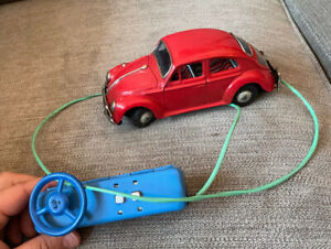 Vintage Tin Battery Operated VW Beetle Remote Controlled Car Bandai 60s No Res