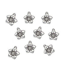 20 ANTIQUE SILVER PLATED FLOWER DANGLE CHARMS 17MM