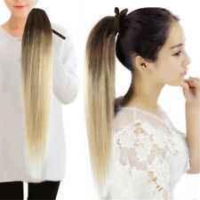 100% Real Human Hair Clip in Ombre Drawstring Straight Ponytail Extensions 16""
