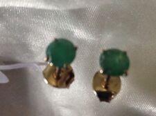 9k Y Gold 1 Ct AA Grade Kagem Zambian Emerald Stud Earrings 5mm