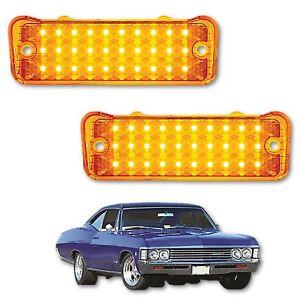 1966 66 Chevy Chevrolet Impala LED Park Light Turn Signal Lamp Lens Lenses Pair