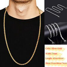 42-74cm Womens Mens Solid Twist Rope Chain Necklace Wedding Engagement Wholesale