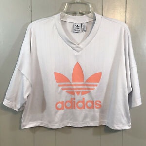 Adidas White Peach Logo Cropped Short Sleeve Relaxed Fit Ribbed Active Top M