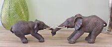 Realistic 2 Elephants Holding Trunks Resin Ornament Scuplture Animal Decor Gift