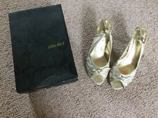 Pilar Abril Gold Decorative Peep Toe Heels Sandals Shoes Sz 4