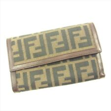 Fendi Wallet Purse Trifold Zucca Brown Beige Woman unisex Authentic Used T4680