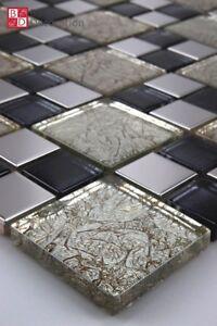 Glasmosaik Edelstahl Mosaik Mosaikfliesen Mosaike Champagne Schwarz Silber 30x30