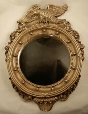 Vintage Chalkware Framed Port Hole Wall Mirror Colonial Eagle Crafts by Coplin