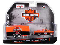 Maisto 1:64 Harley Davidson 1987 Chevrolet Pickup & Car Trailer Orange 15363 HD1