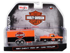 Maisto 1:64 Harley Davidson 1987 Chevrolet Pickup & Car Trailer Orange 15363 HD1