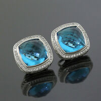 David Yurman 925 Sterling Silver Diamond 14mm Blue Topaz Albion Earrings