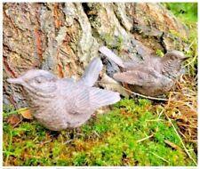 2 x Resin Garden Wren Bird Outdoor Ornament Detailed Statue Patio Home Decor
