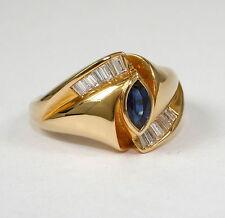Echte Edelstein-Ringe mit Saphir und Baguette