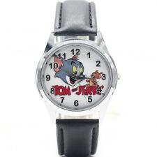 Reloj de Pulsera Gato de TV dibujos animados Tom Jerry peli película Cuero Analógico Cuarzo Negro