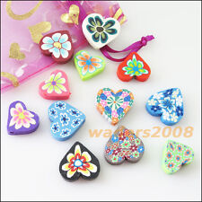 5Pcs Mixed Handmade Polymer Fimo Clay Heart Flat Spacer Beads Charms 20mm