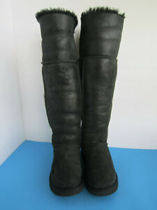 UGG Bailey Button Black Bomber Over The Knee Boots Women US Size 7